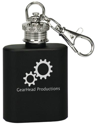 Matte Black Stainless Steel Flask Keychain