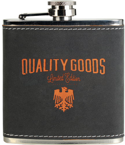 Dark Gray/Orange Textured Stainless Steel Flask