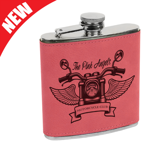 Pink Leatherette Flask