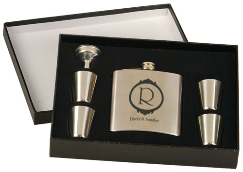 Stainless Steel Flask Set in Black Presentation Box