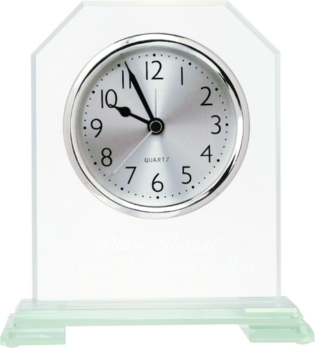 Clipped Corners Glass Clock