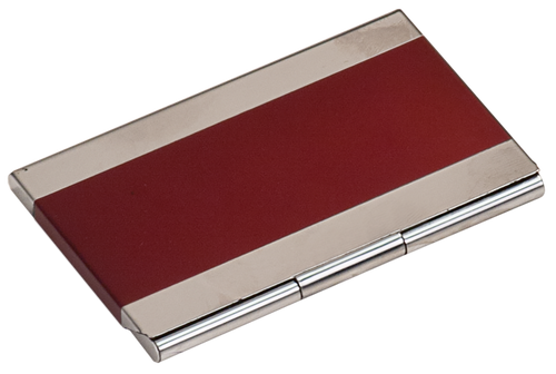 Red Metal Business Card Holder