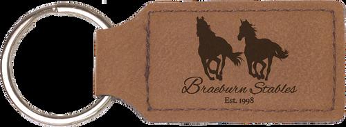 Dark Brown Leatherette Rectangle Keychain