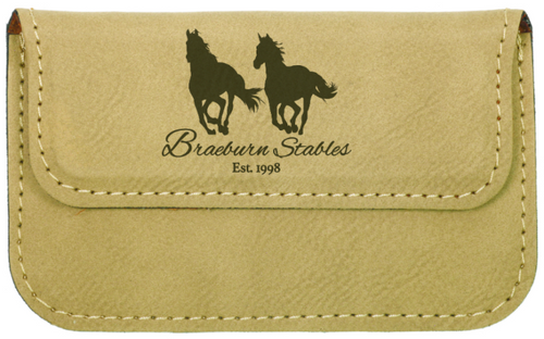 Light Brown Leatherette Business Card Holder