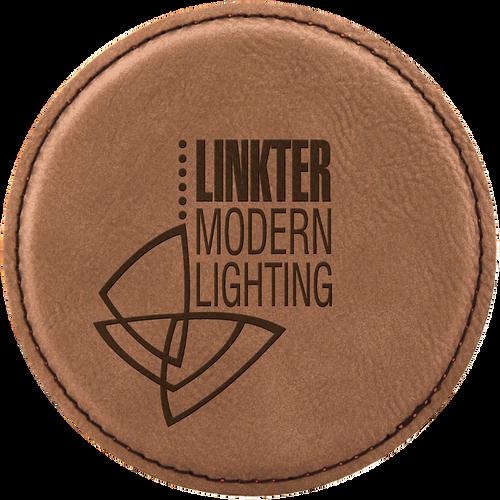 Dark Brown Round Leatherette Coaster