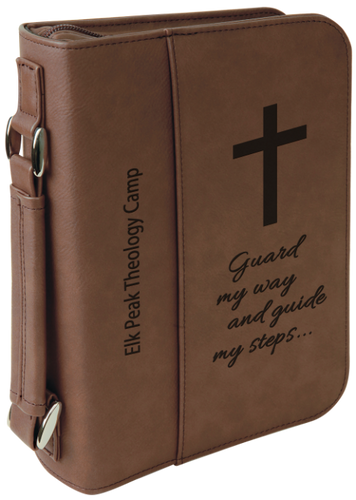 Dark Brown Leatherette Book/Bible Cover with Zipper & Handle