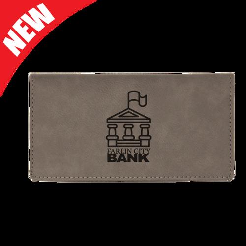 Gray Leatherette Checkbook Cover