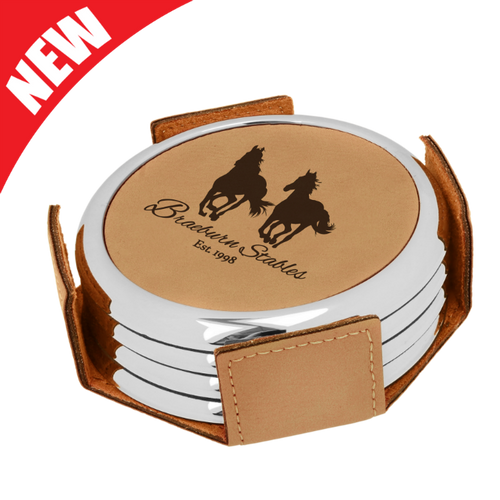 Round Light Brown Leatherette with Silver Edge 4-Coaster Set