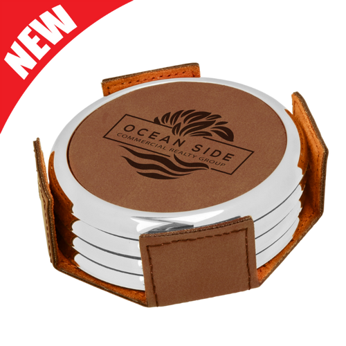 Round Dark Brown Leatherette with Silver Edge 4-Coaster Set