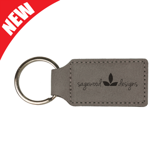 Gray Leatherette Rectangle Keychain