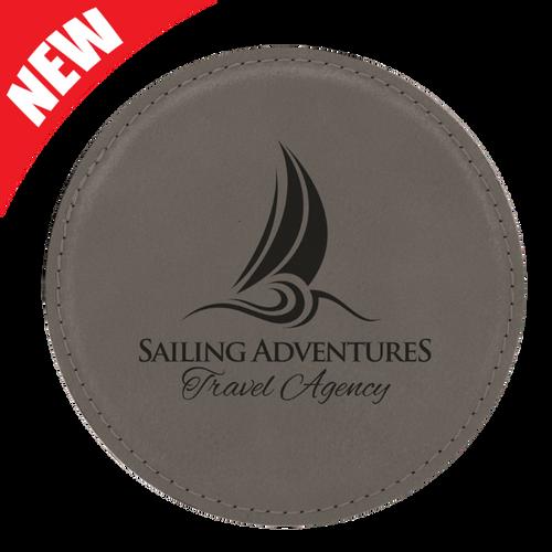 Round Gray Leatherette Coaster