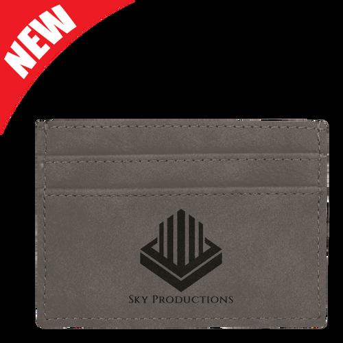Gray Leatherette Money Clip & Card Holder