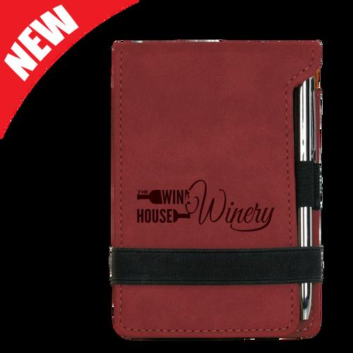 Rose Leatherette Mini Notepad & Pen