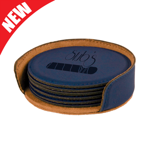 Round Blue Leatherette 6-Coaster Set