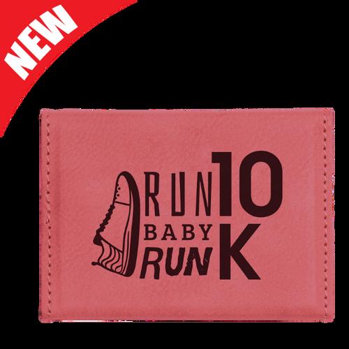 Pink Leatherette Hard Business Card Holder