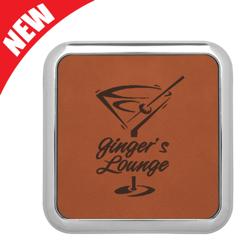 Square Rawhide Leatherette Coaster with Silver Edge