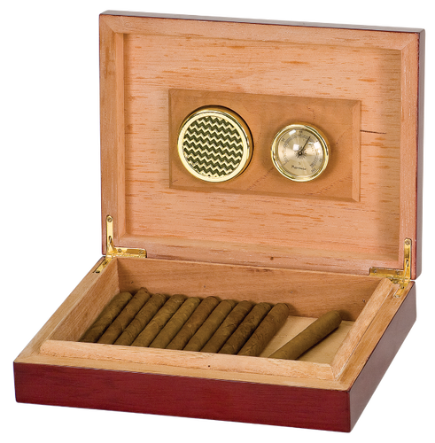 Rosewood Piano Finish Spanish Cedar Humidor with Hygrometer & Humidifier