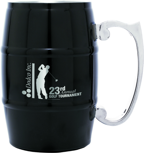 Black Barrel Mug with Handle