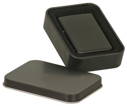 Matte Black Laserable Lighter in Laserable Black Tin