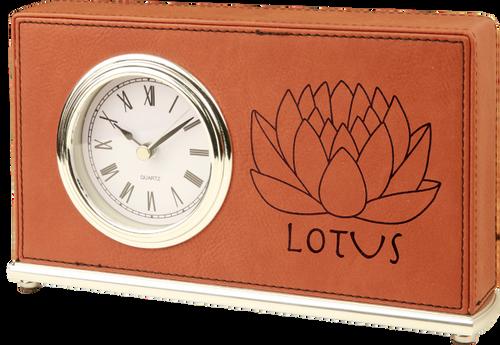 Rawhide Leatherette Horizontal Desk Clock