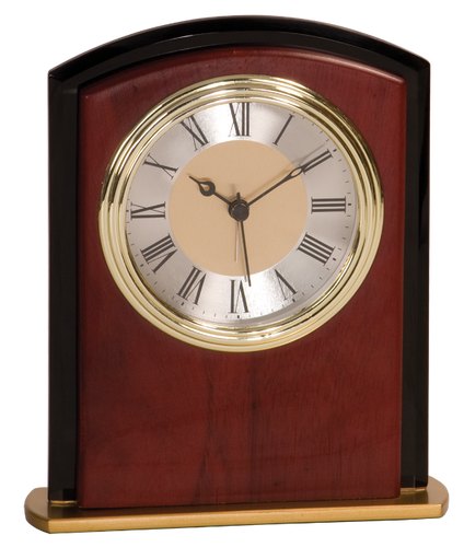 Mahogony Finish & Glass Square Arch Clock