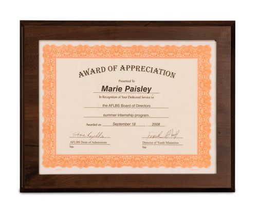 Cherry Finish Plaque with Slide-In Certificate Frame