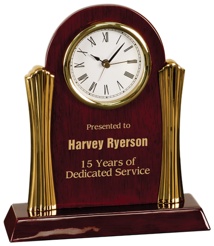 Rosewood Piano Finish Arch Desk Clock with Gold Columns