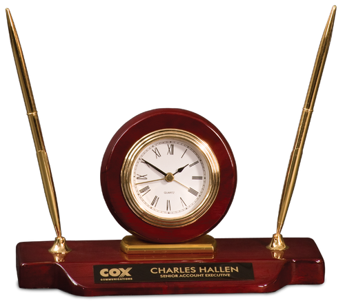 Roswewood Piano Finish Desk Clock on Base with 2 Pens