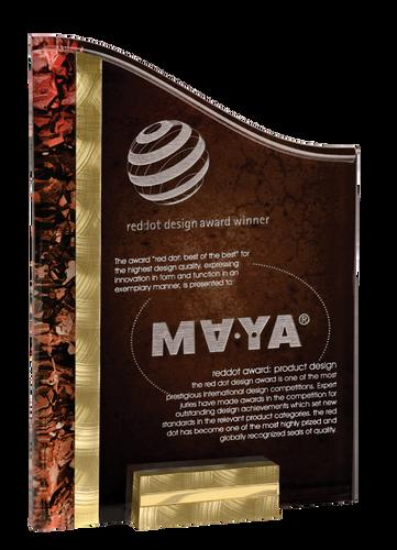 Gold & Red SunRay Acrylic Award with Base
