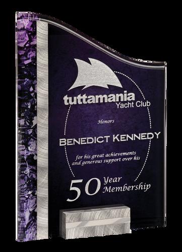 Silver & Purple SunRay Acrylic Award with Base