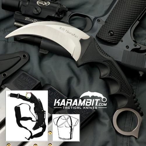Honshu Silver Karambit w/Shoulder Harness