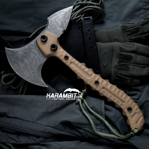 James Coogler's Tribal Acid Etched Tan G10 Falcon Prototype Tomahawk