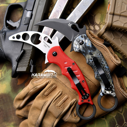 Fox 479 Kryptek Neptune Karambit and Training Karambit