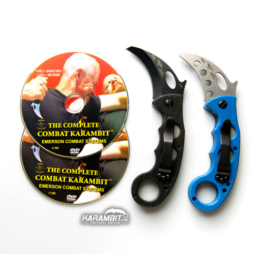 Emerson Black Folding Combat Karambit & DVD Training Package - 3 in 1
