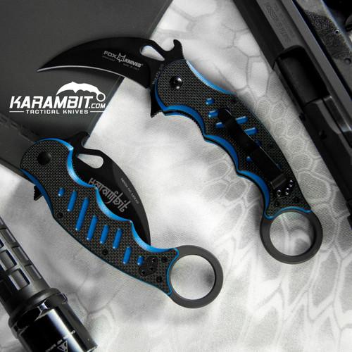 Fox 479 Black Blue G10 Folding Karambit - Emerson Wave