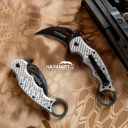 Fox 479 Grey Aluminum Folding Karambit - Emerson Wave