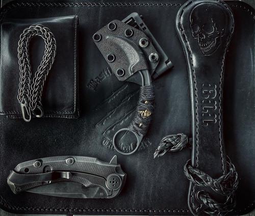 Bastinelli Black Paracord Pika Karambit w/Bronze Skull Menuki