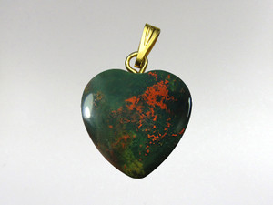 Heart Pendant 15mm - Bloodstone