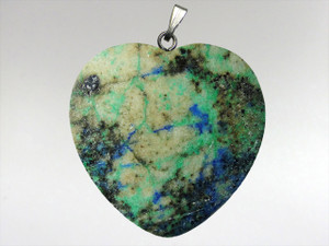 Heart Pendant 30mm - Azurite Malachite 5