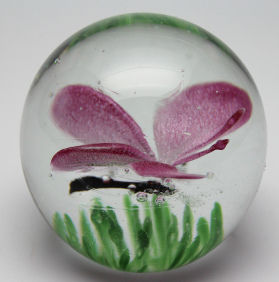 Pink Glass Butterfly Paperweight/Glow In The Dark/Handcrafted/Home Decor