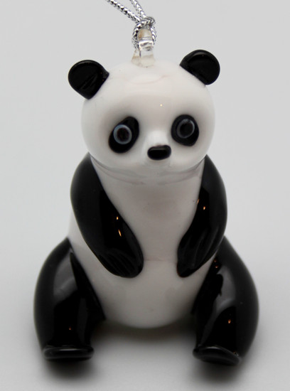 Panda Ornament/Handcrafted/Hand Blown Glass