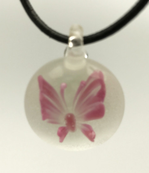 Pink Butterfly Pendant/Glow In The Dark