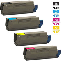 Compatible Okidata Laser Toner Cartridges 4 Color Set (43324469/ 43324468/ 43324467/ 43324466)