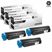 Compatible Okidata 44992405 Laser Toner Cartridge Black 3 Pack