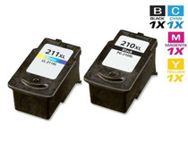 Compatible Canon PG-210XL & CL-211XL Premium Quality Ink Cartridges Remanufactured High Yield Black and Tri Color - 2 Pack