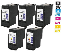 Compatible Canon PG-240XL & CL-241XL (5206B001/ 5208B001) Premium Quality Ink Cartridges Remanufactured High Yield 3 Black & 2 Tri Color 5 Pack