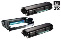 Dell 330-2663 (PK496) Drum and 330-8985 Two Toner Compatible Cartridge High Yield Black