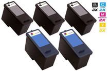 Dell CN594 & CN596 Ink Remanufactured Cartridge 5 Set (3 Black and 2 Tri Color)