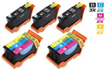 Dell GRMC3 & XGRC3 Ink Compatible Cartridge 5 Set (3 Black and 2 Tri Color)