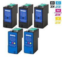 Dell M4640 & M4646 Ink Remanufactured Cartridge High Yield 5 Set (3 Black and 2 Tri Color)